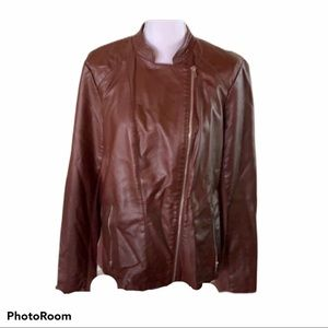 Worthington Faux Leather brown motorcycle jacket